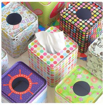 European-style tin box square tissue box tissue pumping paper towel tube diverse styles tissue box 2pcs/lots mix color
