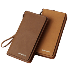 New Arrive Fashion Men's Clutch Bag Wallet Long Design Zipper Business Card Holder Retro Brown Nubuck Leather Coin Purse Handbag