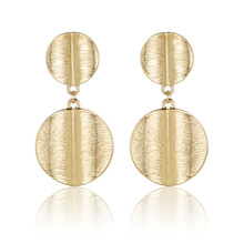 Punk Style Big Metal Sequin Round Earrings For Women Jewelry Gold Color Pendientes