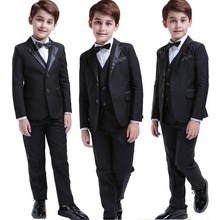 Черные костюмы для мальчиков ясельного возраста, 5 шт., торжественный Детский костюм на свадьбу, платье-смокинг, вечерние костюмы для носителя колец