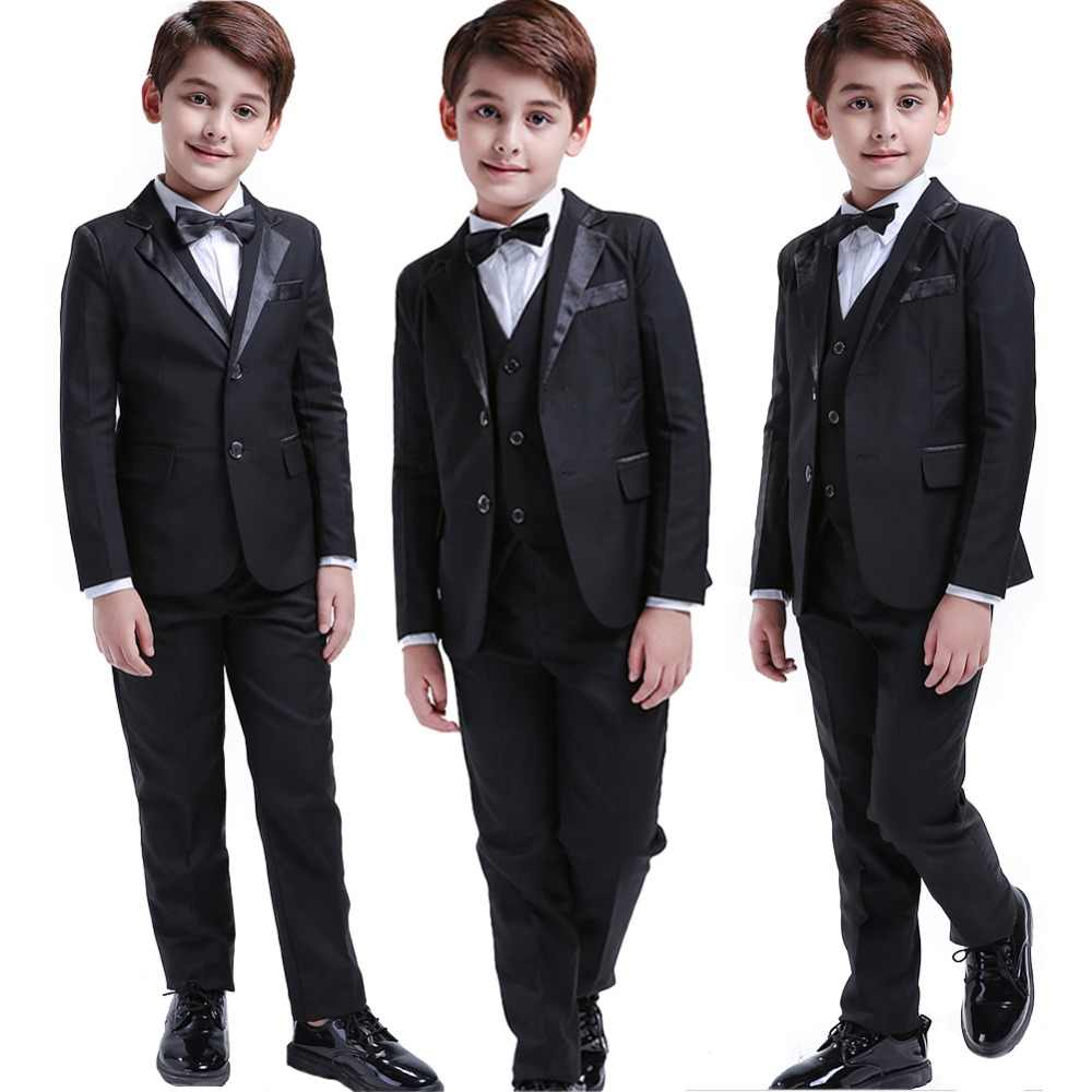 9008f6d796a 5 Pcs Black Toddler Boys Suits Wedding Formal Children Suit Tuxedo Dress  Party Ring bearer