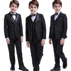 Черные костюмы для мальчиков ясельного возраста, 5 шт., торжественный Детский костюм на свадьбу, платье-смокинг, вечерние костюмы для носите...