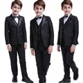 5 Pcs Black Toddler Boys Suits Wedding Formal Children Suit Tuxedo Dress Party Ring bearer|child tuxedo|boys formal|tuxedo children -