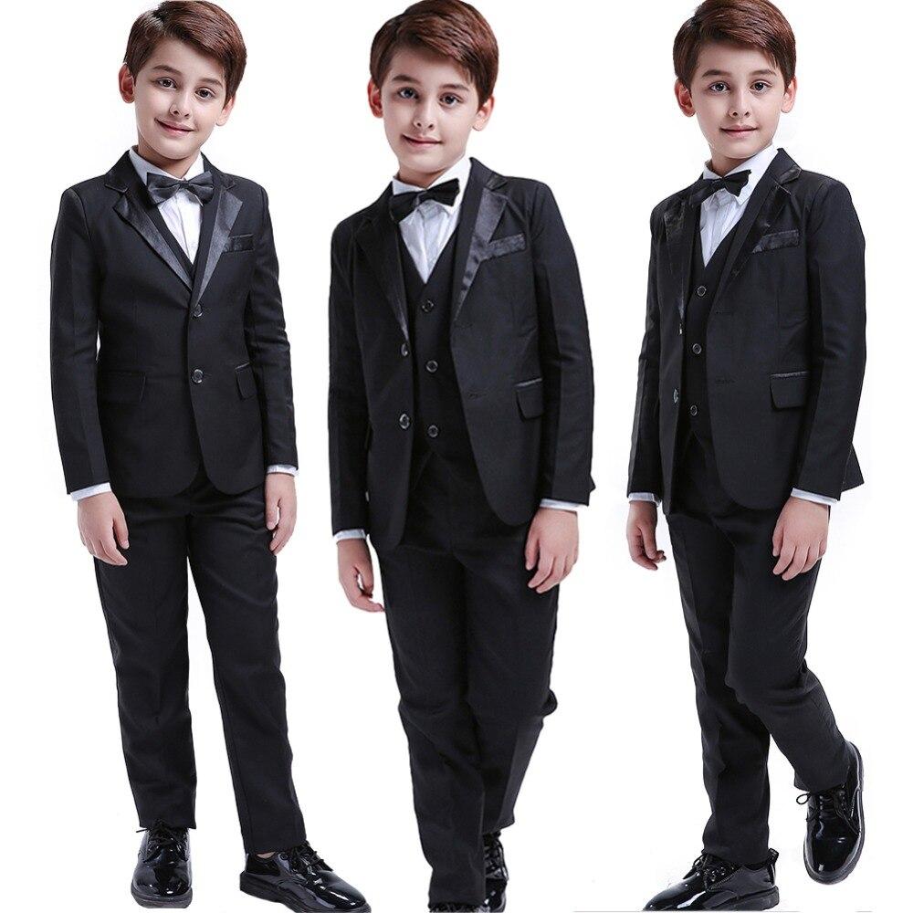 a917a4451e8 5 шт черный для маленьких мальчиков костюмы свадьбы Формальные Детский  костюм смокинг платье Вечерние подносителя колец