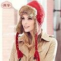 Шерсть Трикотажные Лэй Фэн Шляпа Женщины Зима Теплая Ветрозащитный Колпачок Вышивка Передняя Крышка Наушники Женская Red Hat B-4705