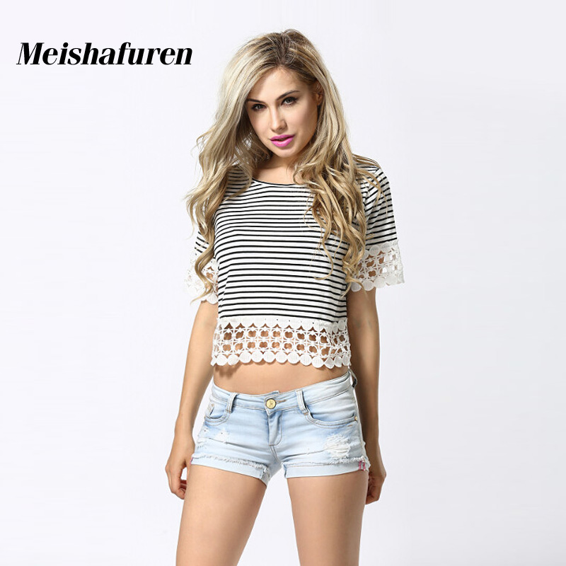 2017 Brand New Women Black White Striped Crop Tops Elegant Floral Crochet Lace Patchwork Short Sleeve Cropped T-Shirt Tees T955S
