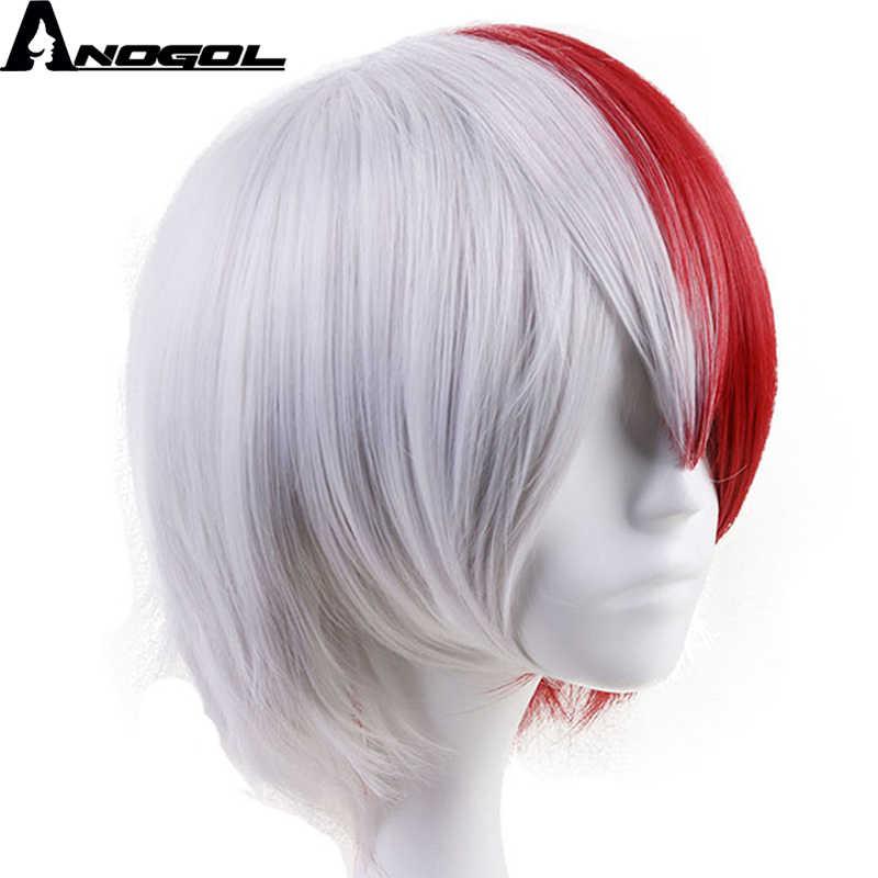 Anogol Anime akademia bohaterów Shoto Todoroki krótki prosto w połowie biały i czerwony peruka syntetyczna Cosplay na kostium na Halloween Party
