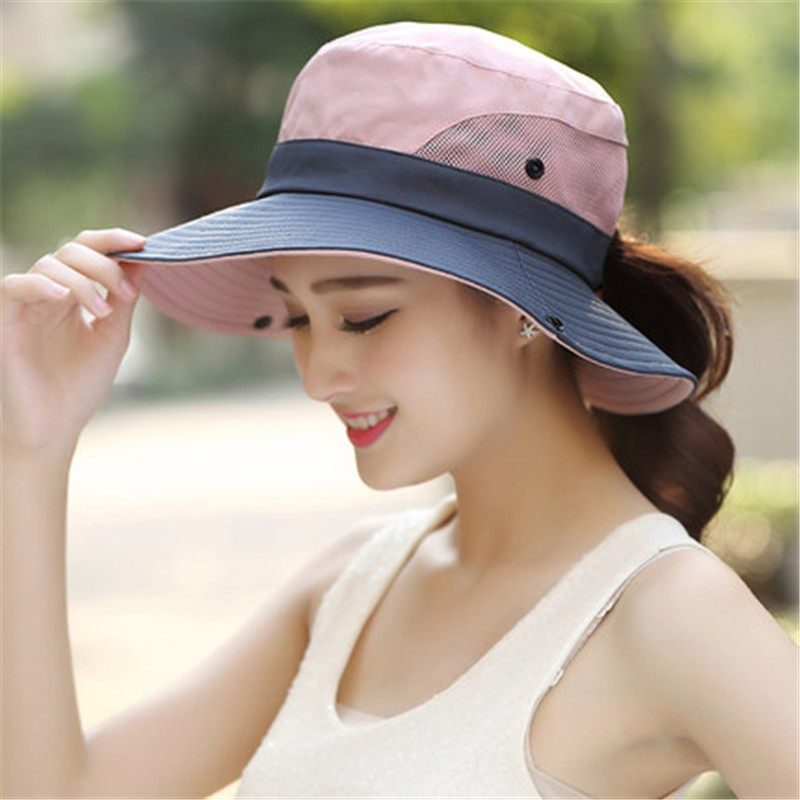 2019 Summer Ponytail Hat For Women UV UPF Wide Brim Breathable Sun Hat Outdoor Hiking Fishing Bucket Waterproof Boonie Hat