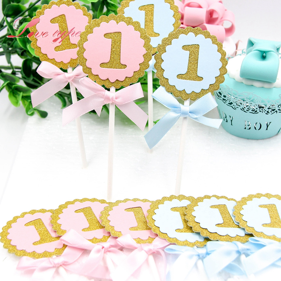Decoração de bolo, decoração de 10 pçs/lote 1 ano, festa de aniversário, brinquedo, bebê, primeiro aniversário, cupcake, artesanato de papelão, bonitos