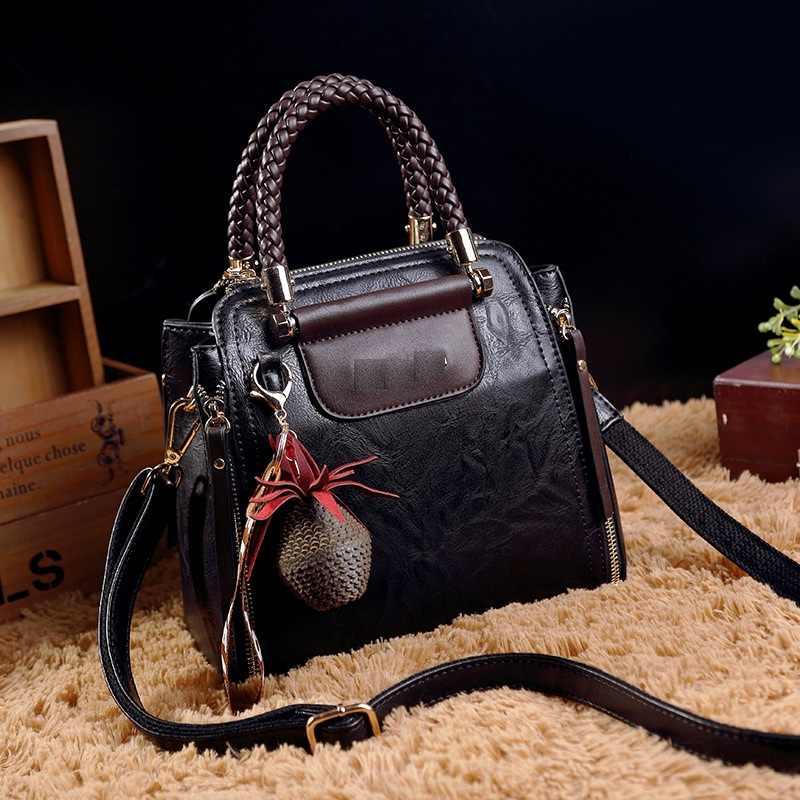 Vintage Echt Leer Bakken Luxe Handtassen Vrouwen Tassen Designer Beroemde Merk Retro Schoudertas Olie Wax Messenger Bag Nieuwe T38