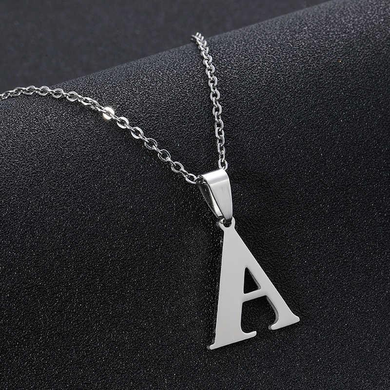 Trendy A-Z Kleine Buchstaben Halskette für Frauen/Mädchen Edelstahl Ersten Anhänger Dünne Kette Englisch Brief Schmuck Alfabet Geschenk
