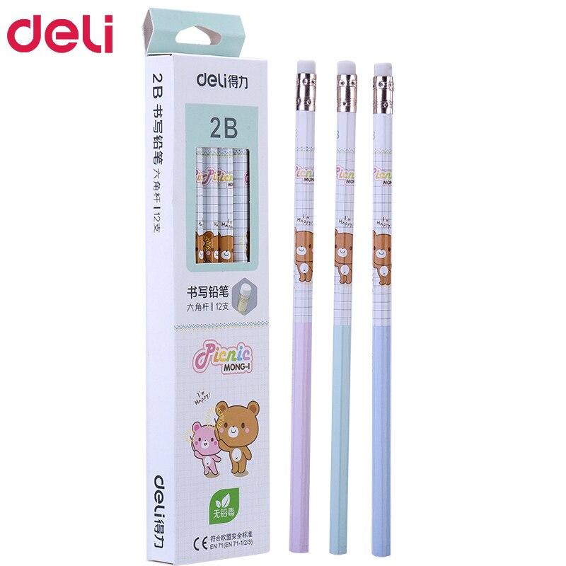 72pcs kawaii wood pencils 2B HB cute rilakkuma pencil with erasers high quality pencil for school kids writing stationery giftStandard Pencils   -