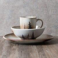 Lekoch Vintage Plate Bowl Mug Set Dinnerware Set Adults Plate Salad Bowl 380ml Mug Dinnerware Sets Creative Frosted Tableware
