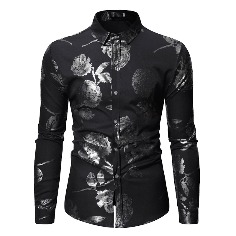 Men's Shiny Silver Rose Foil Slim Fit Long Sleeve Party Dress Shirt 2019 Spring Autumn New Casual Men Shirt Stage Wear Shirts