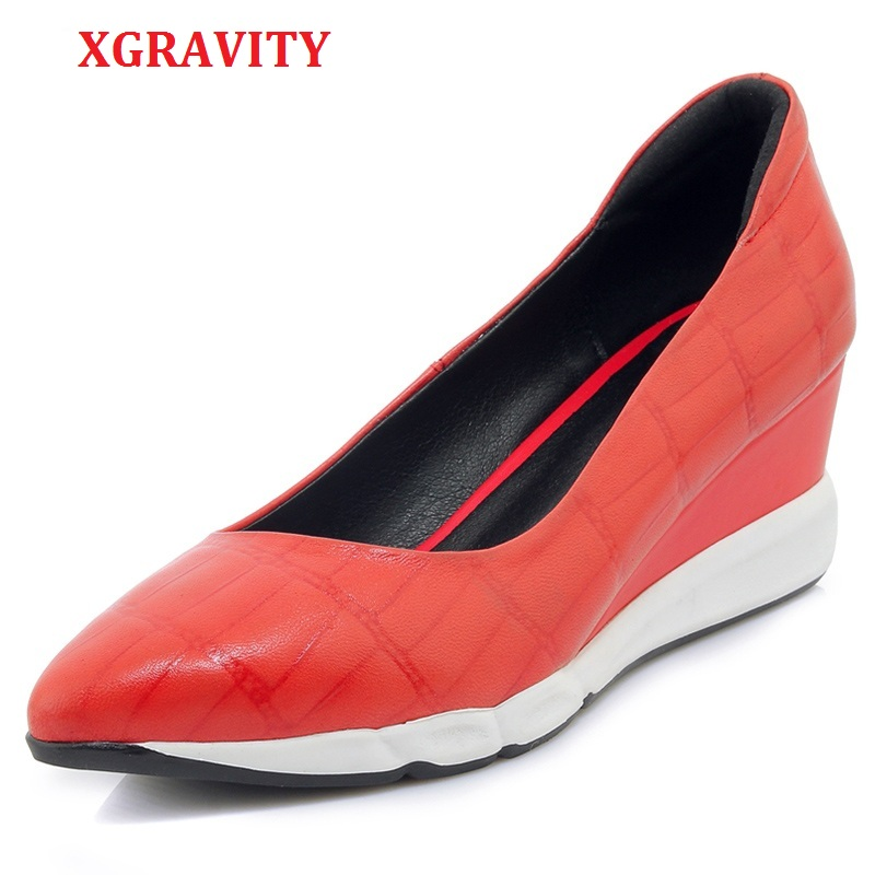 XGRAVITY Autumn Sheepskin High Heel Wedges Elegant Genuine Leather Pointed Toe Dress Shoes Fashion Women High Heels Shoes C272-in Women's Pumps from Shoes    1