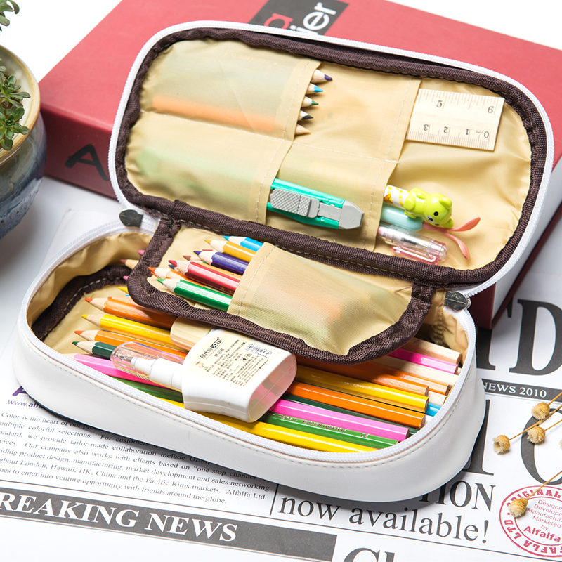 Kawaii Pencil Case Large Capacity PU Leather Pencil Bag School Supplies Sweet Summer Candy Color Stationery Box Gift Pen Holder kawaii cartoon girls school pencil case with lock cute pu leather large capacity pencil bag gift bts pen box stationery supplies