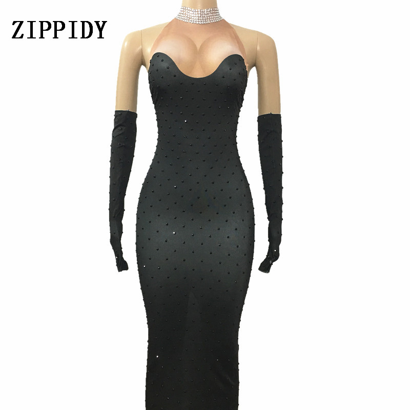 Sexy Black Rhinestones Long Dress Gloves Costume Singer Stage Show Evening Party Celebrate Outfit Dresses Women's Dance Wear