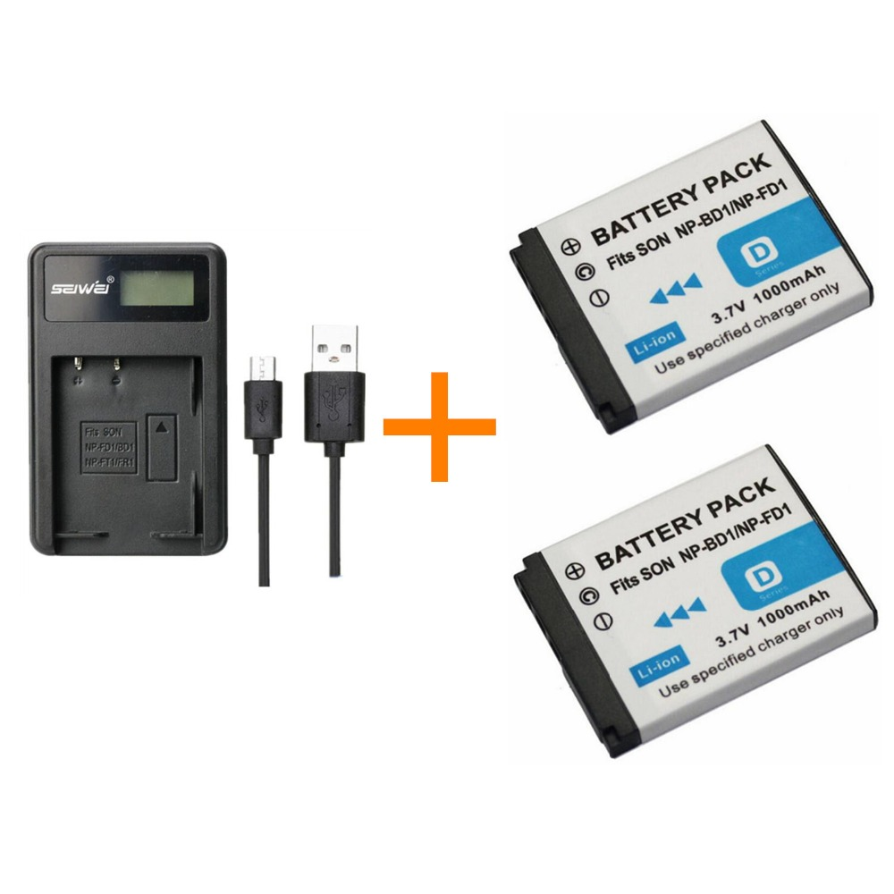2 Pcs 1000mah Np-fd1 Fd1 Np-bd1 Bd1 Npfd1 Battery With Battery Charger For Cybershot Dsc-t75 Dsc-t77 Dsc-t200 T300 T500 T700 T90 A Great Variety Of Goods