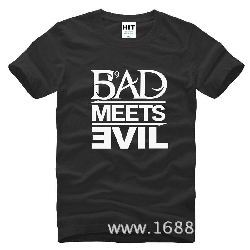 Eminem Bad Meets Evil rap rock Maglietta da uomo T Shirt For Men 2015 Nuova manica corta Cotton Casual Top Tee Camisetas Masculina
