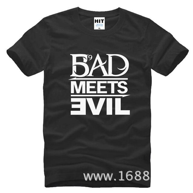 Eminem Bad Meets Evil rap rock Men's T-Shirt T Shirt For Men 2015 New Short Sleeve Cotton Casual Top Tee Camisetas Masculina