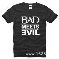 Eminem Kötü Karşılar rap kaya erkek T-Shirt T Gömlek Için Erkekler 2015 Yeni Kısa Kollu Pamuk Casual En Tee Camisetas Masculina
