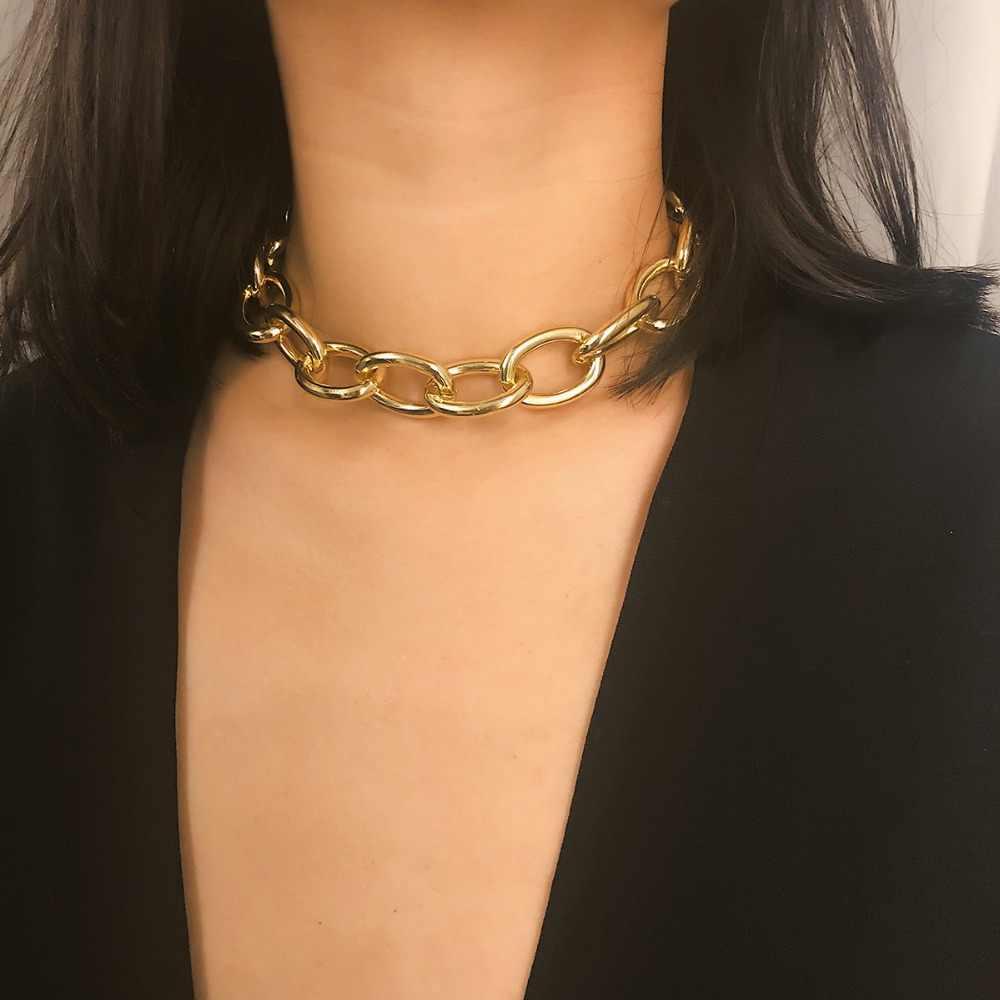 IngeSight. Z Punk gourmette cubaine collier ras du cou collier déclaration couleur or gros épais clavicule chaîne colliers pour femmes bijoux