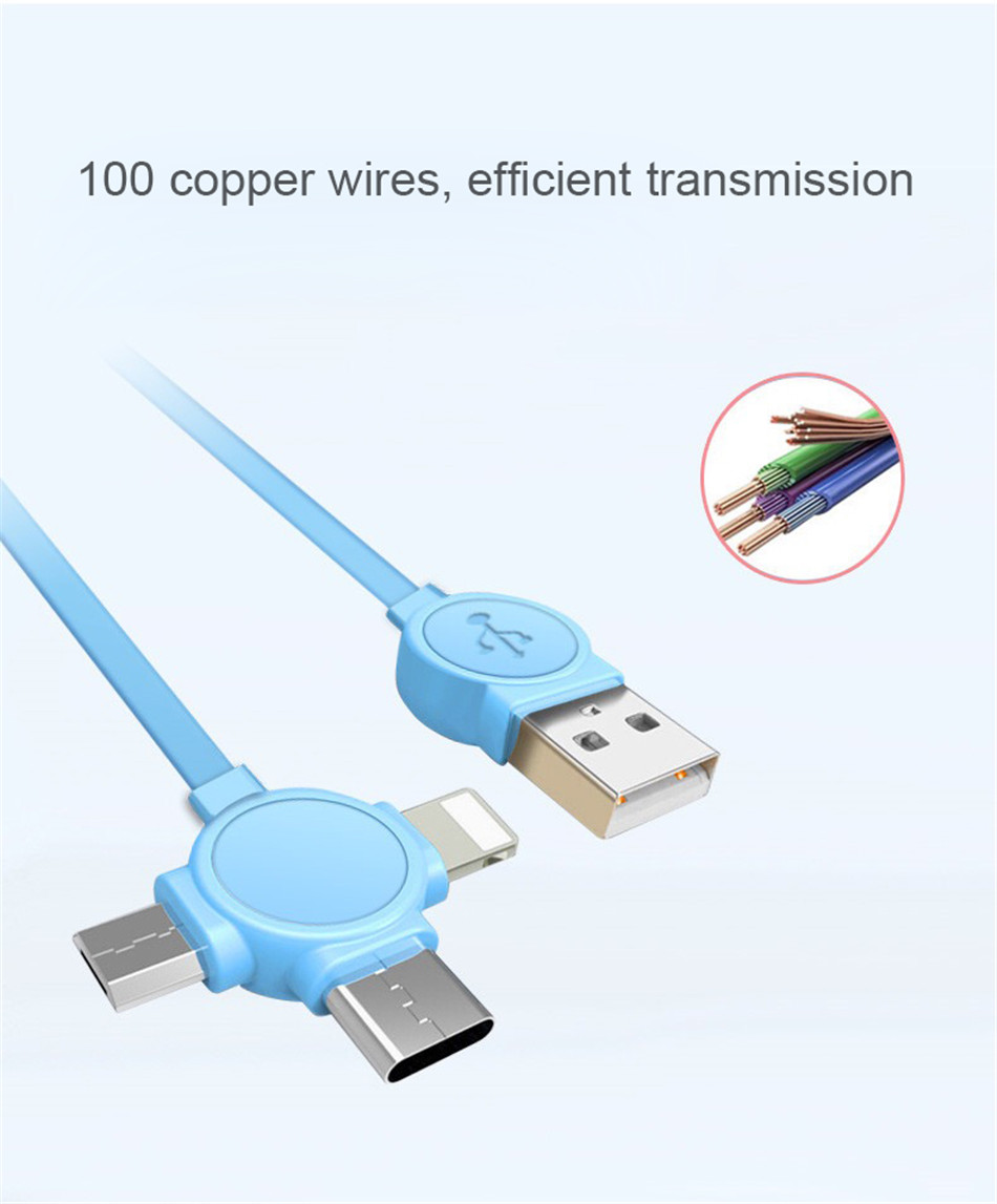 NOHON 3 in 1 USB Cable Type C Lighting Charge Cable For iPhone X 7 8 Plus IOS For Xiaomi Huawei Samsung Fast Charging Cables 1M (5)