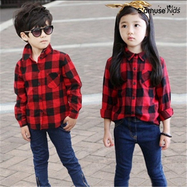 6fcca563 2017 New Fashion Comfortable Childrens Baby Girl Clothing Girls Tops  Blouses Cotton Classic Red Plaid Boys