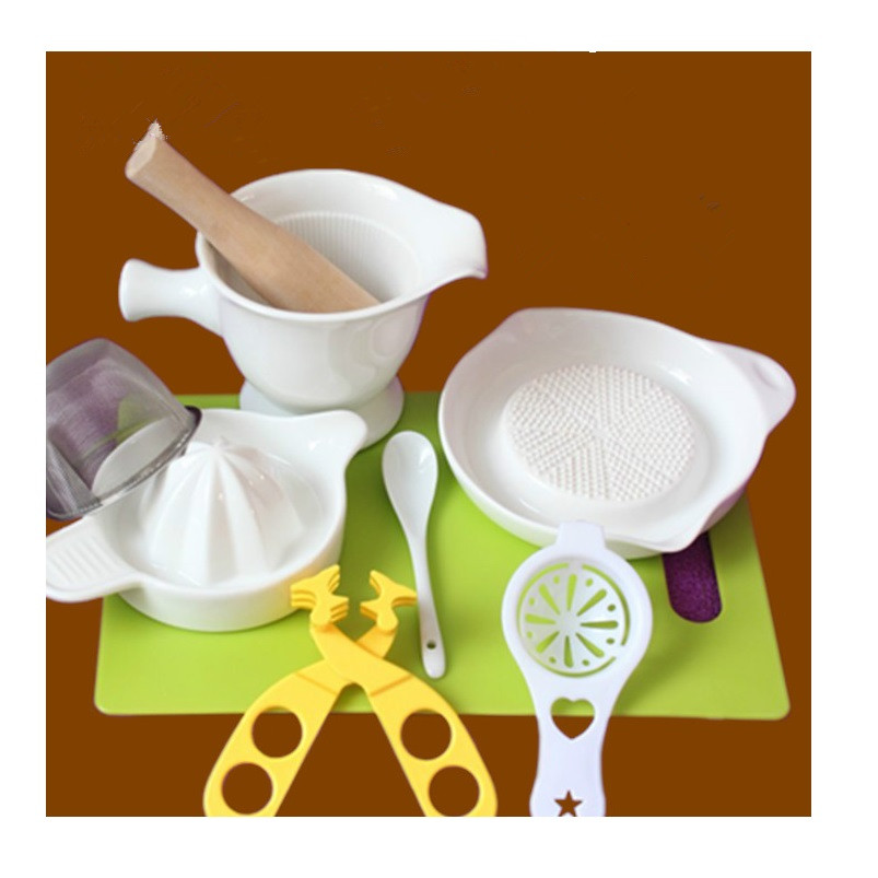 10PCS Multi-functional Ceramic Manual Food Maker Grinder Baby Food Mills