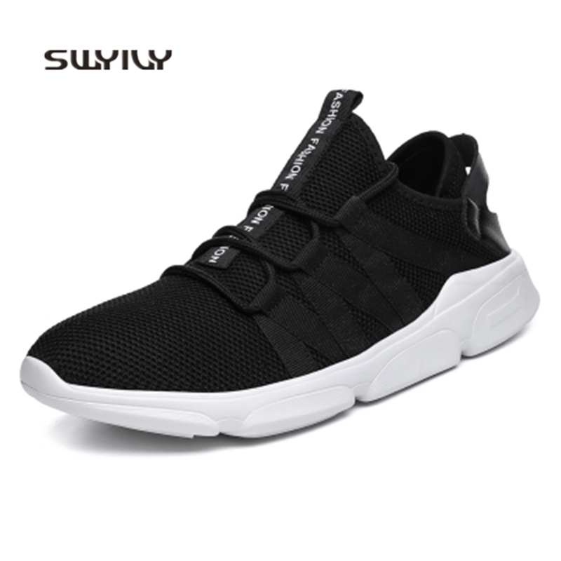 SWYIVY Men Running Shoes Mesh Breathable Plus Size 48 2018 New Spring Autumn Slip-on Men Sneakers Light Weight Sport Shoes Men