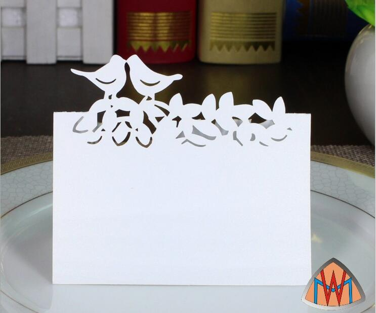 100pcs Laser Cut Hollow Doves Paper Table Card Number Name Card For Party Wedding Place Card Decorate
