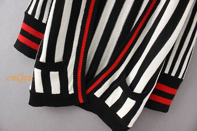 placeholder White black red Women Autumn Winter Vertical striped Knitted  Cardigan Coat Sweaters casual knitted outerwear f78deb17e
