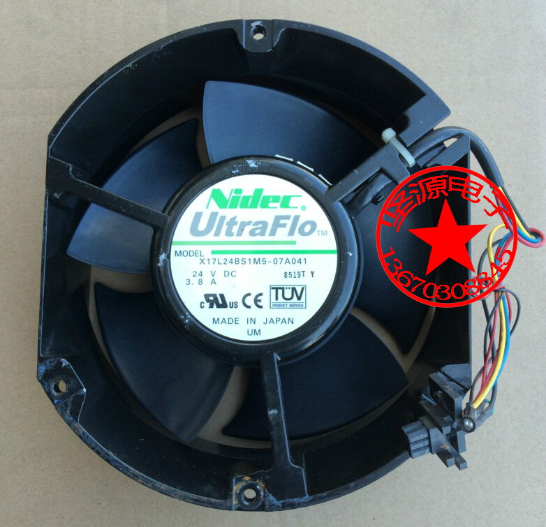 Free Shipping For Nidec X17L24BS1M5-07A041 DC 24V 3.8A 4-wire connector 90mm 172x172x51mm Server Round Cooling fan original for nidec ta550dc a34885 90 14070 12v 5 0a server cooling fans
