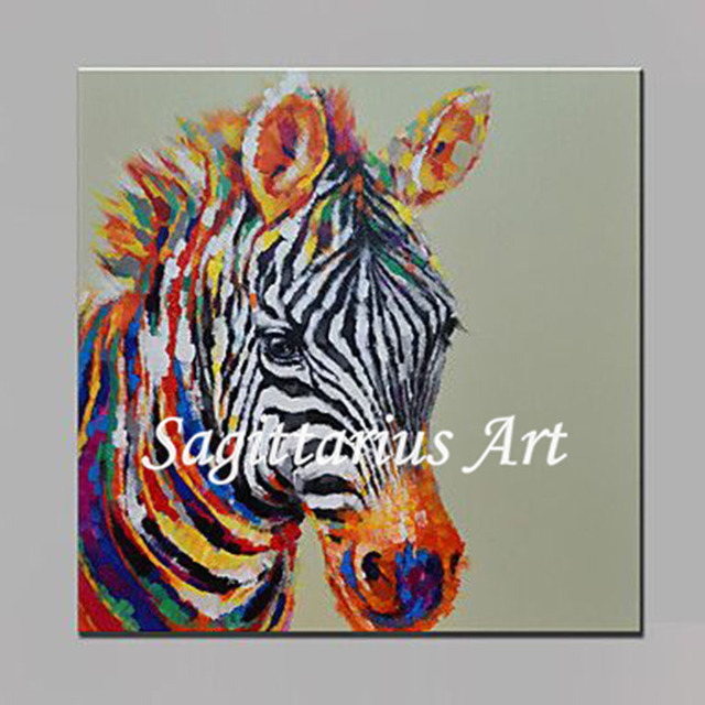Peint A La Main De Haute Qualite Animaux Zebre Decoration Murale A L
