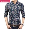 2016 Limited Cotton New Fashion Casual Shirt Long Sleeve Print Slim Fit Trend Men Designer Shirts Clothes Asian Size 6xl,gx260
