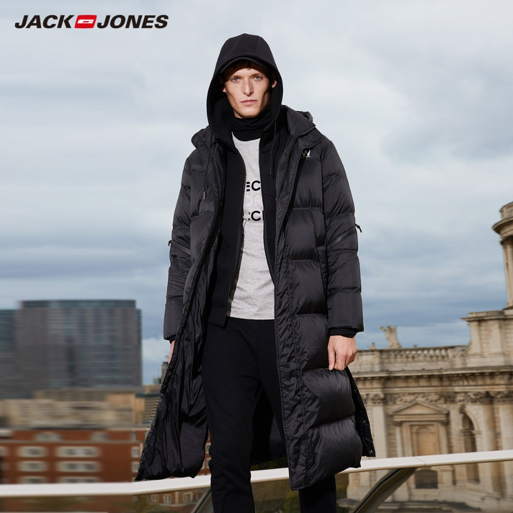 JackJones hommes hiver à capuche longue canard extérieur vêtements d'extérieur hiver mâle décontracté mode doudoune manteau homme | 218312520