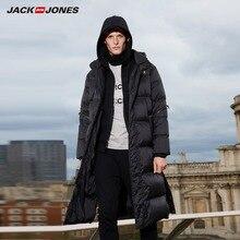 JackJones męskie zimowe długi, z kapturem kaczka na zewnątrz odzieży wierzchniej zimowe męskie na co dzień modna puchowa kurtka płaszcz odzieży męskiej