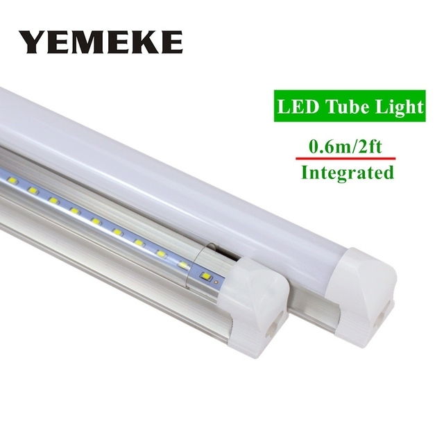 1pc/lot LED Bulbs Tubes 2ft Integrated Tube Light T8 600mm 10W Led Tubes AC85-265V G13 48pcs SMD2835 Lighting Tubes 1000lm