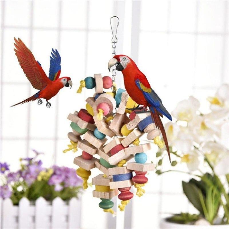 Ankunft Holz Bunte Papagei Spielzeug Kauen Spielzeug Haustier Vogel Spielzeug Hängenden Schaukel Käfig Spielzeug Für Papageien Haustier Vogel Zufällige Farbe