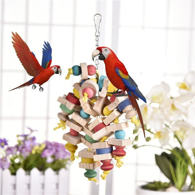 Llegada de madera colorido juguetes loro de juguete para mascotas juguetes colgando Swing jaula Juguetes Para loros aves de Color al azar
