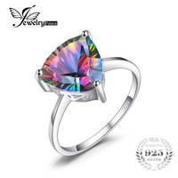 Genuine Nature Rainbow Fire Mystic Topaz Stud Earrings For Women Trillion Concave Cut Pure Solid 925