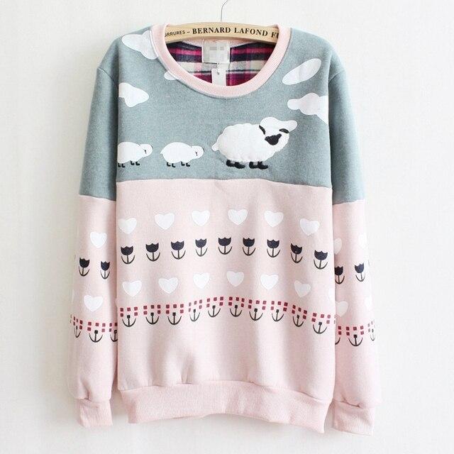 Mais novo estilo de alta qualidade velo hoodies dentro morno mulheres ovelha cor da mistura de algodão Mulheres Moletom com capuz rosa e cinza 8425