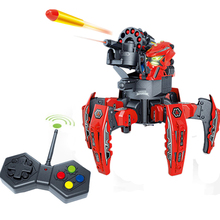цена на 2.4G Electric Remote Control Foam Dart Shooting Robot DIY Intelligent Combat With Six-Foot Spider Toys For Children Red