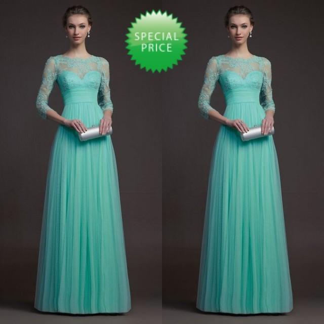 2014 até o chão melancia Custom Made Real imagem Zuhair Murad vestidos para venda manga comprida turquesa vestido da dama de