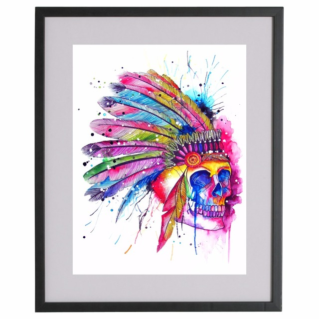 American Indian Skull Artwork Canvas Art Print Painting Poster Wall ...