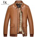 2017 New Brand Leather Jackets Real cowskin Luxury business style /Slim black/Champagne men leather Coat  15L1517