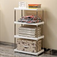 DIY Free Combination Shelf Plastic Floor Living Room Kitchen Bathroom Storage Rack T0