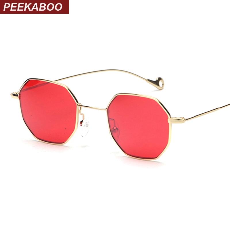 Peekaboo azul amarillo rojo tintado gafas de sol mujeres pequeño marco polígono 2017 diseño de marca vintage gafas de sol para hombres Retro
