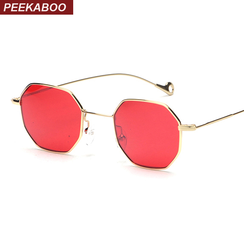 Peekaboo blue yellow red tinted sunglasses women small frame polygon 2017 brand design vintage sun glasses for men retro