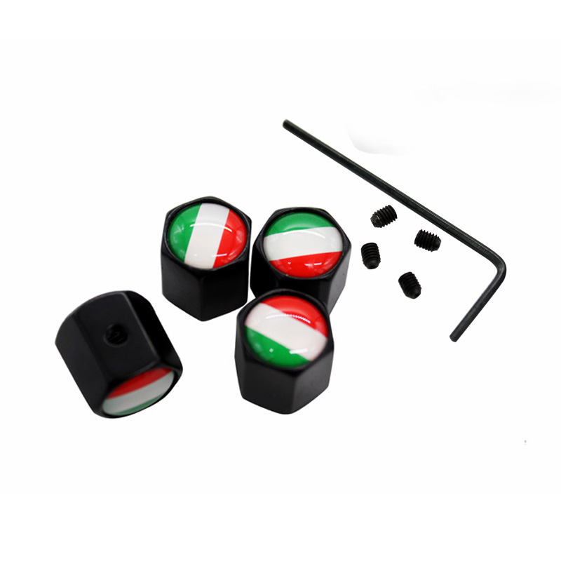 4Pcs/Set Italy Flag Logo Anti-theft Valve Caps Black Wheel Tire Stem Air Caps Auto Styling For Porsche FIAT Alfa-Romeo
